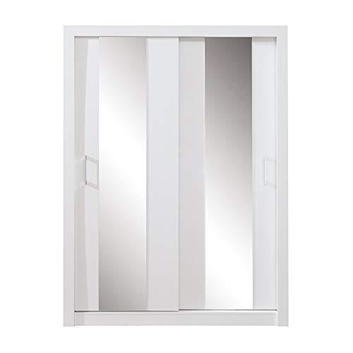 Furniture24 Kleiderschrank Duca II Schwebetürenschrank mit Spiegel, 2 Türen, 5 Einlegeboden und 1 Kleiderstange (Weiß Matt)