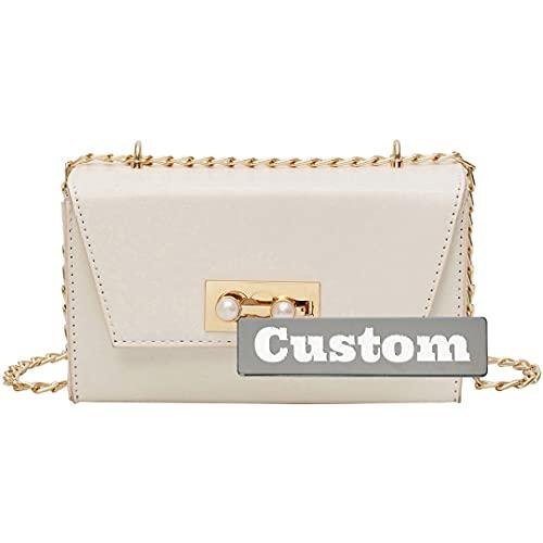 Bolsos Personalizados de Nombre Personalizado con Cuero marrón Crossbody Wallet Moda Mini para Mujeres (Color : White, Size : One Size)