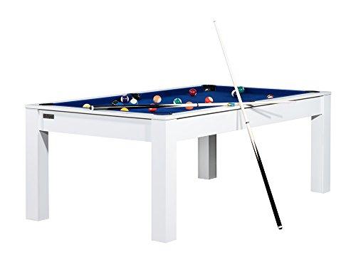 Billard Connecticut 213 cm blanc tapis bleu convertible table salle manger