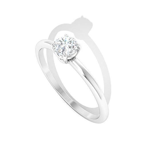 Anillo de declaración de oro de moissanita certificado IDCL de 0,5 ct, clásico mujer piedra preciosa DEF-VS1 color claridad anillo, boda dama de honor solitario promesa anillo, 14K Oro