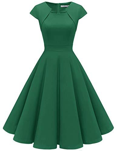 Homrain Donne Anni Cinquanta Vintage A-Line cap Manica Cocktail Swing Partito Vestito Green XS