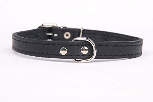 HOGACA Exklusives,weiches Echt-Leder-Hunde-Halsband 908 2,0 cm breit x 55 cm, schwarz, Halsumfang 40-50 cm
