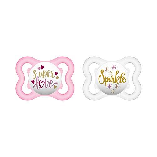 MAM Air Silikon Schnuller im 2er-Set, extra leichtes und luftiges Schilddesign, zahnfreundlicher Baby Schnuller aus speziellem MAM SkinSoft Silikon mit Schnullerbox, 0 - 6 Monate, rosa