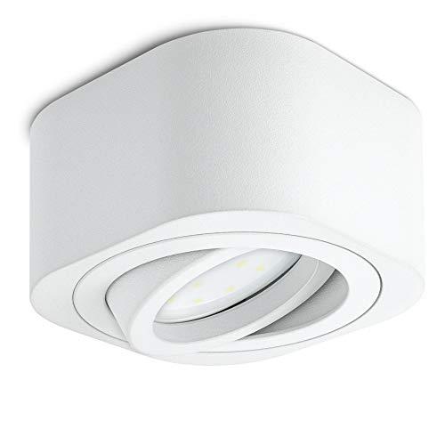 SSC-LUXon TEARA LED Aufbauspot weiß, flach & schwenkbar - inkl. wechselbarem LED Modul 5W warmweiß 230V - Mini Aufbauleuchte