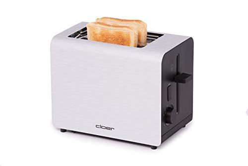 Cloer 3519 Toaster / 825 W / für 2 Toastscheiben / integrierter Brötchenaufsatz / Nachhebevorrichtung / Krümelschublade / mattiertes wärmeisoliertes Aluminiumgehäuse
