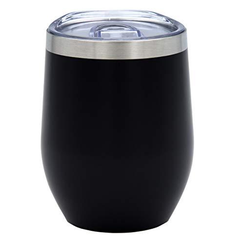 PreVino Edelstahl Isolierbecher (schwarz), Thermo-Becher, Wein-Glas to go, Reisebecher & Picknickbecher mit Deckel für Kaffee, Tee (350ml)