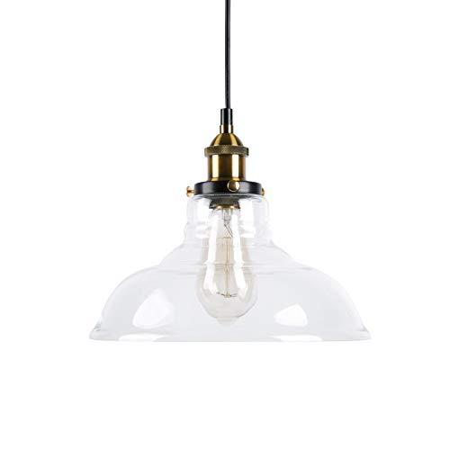 Huahan Haituo Industrial Edison Vintage Style 1-Light Colgante Glass Hanging Light (transparente,28CM )