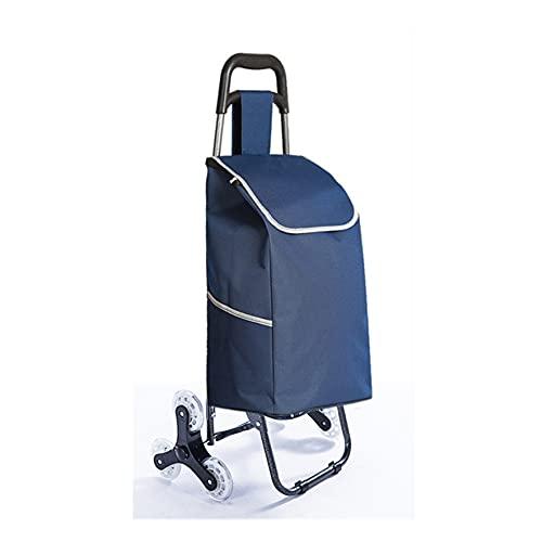 WANGYIYI Carritos de Compras Plegables Carretilla de Mano de Compras Impermeable Reutilizable Carro para Subir escaleras con manija telescópica y Ruedas (Color : Blue)