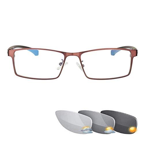 ZZAI Gafas de Lectura Fotocromic PhotoChromic Lejano y Cerca de Dual Masculino HD/Ultra-Light Smart Zoom Sunglasses de Sol - Fashion Fishing 5 Diopter 4 Colores Brown- + 2.0