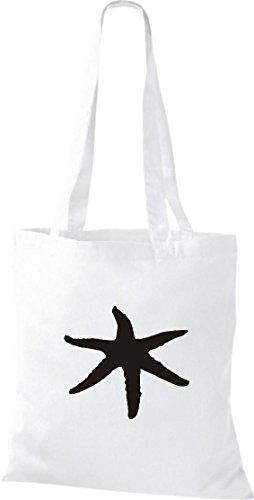 Stoffbeutel Tiermotive Zoo Natur Wildness starfish ostsee nordsee Beutel, Umhängetasche, Farbe weiss