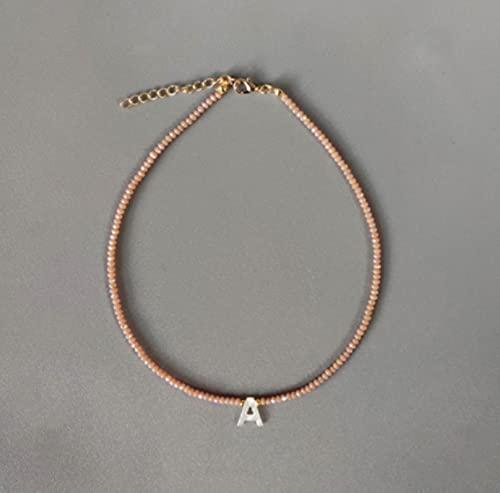 CXWK Collana di Perline di Cristallo Colorate Fatte a Mano Collana con Ciondolo a Forma di Conchiglia di Moda Nome Girocollo per Donna Accessori per Collo Arcobaleno