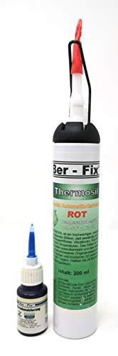 Ber-Fix® Thermosil Das hochtemperatur Silikon Schwarz Motordichtmasse 260°C 200ml Automatikkartusche + Schraubensicherung