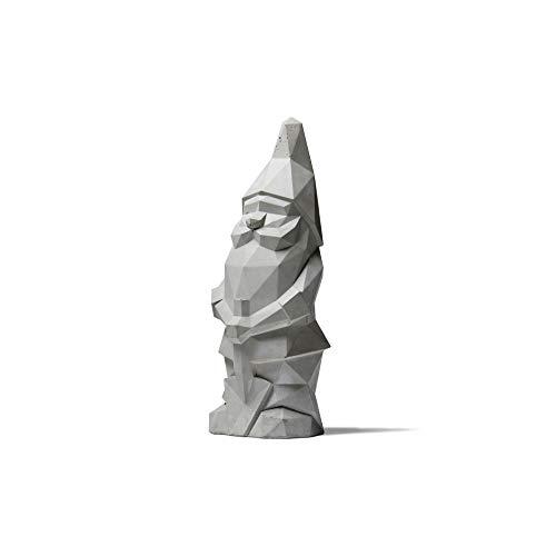 Plato Design Nino Mini Gartenzwerg aus Beton in moderner Polygonoptik (16cm, Beton Grau)