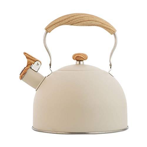 Erfula Hervidor de té de silbido de 25L hervidor de té de silbido de té de Grado alimenticio Pote de té de Acero Inoxidable para Toda la Estufa de té Gas inducción eléctrica Silbato Olla de Superior