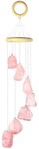 mookaitedecor 7 Raw Stones Rough Crystals Wind Chimes for Home Garden Decoration 17-21 Inches