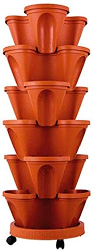 Chagoo Stand Stacking Planters Strawberry Planting Pots, Stackable Vegetable Melon Fruit Planting Pot for Home Garden Decor Red pot