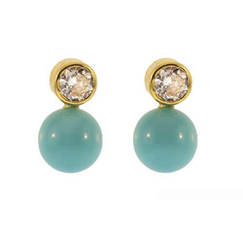 Córdoba Jewels   Pendientes en Goldfilled 14/20 con diseño Tú Y Yo Turquesa Zirconium