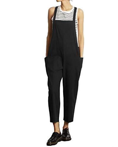 VONDA - Mono pantalón, holgado, con tirantes, para mujer, peto de estilo informal, de algodón D-negro oscuro XXXL