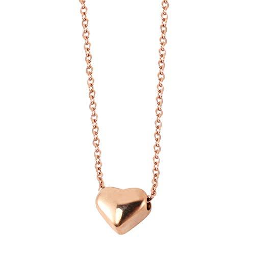 AMOSFUN Collar con colgante en forma de corazón de acero inoxidable, collar de corazón, accesorio de joyería para damas y niñas regalo de cumpleaños (oro rosa)