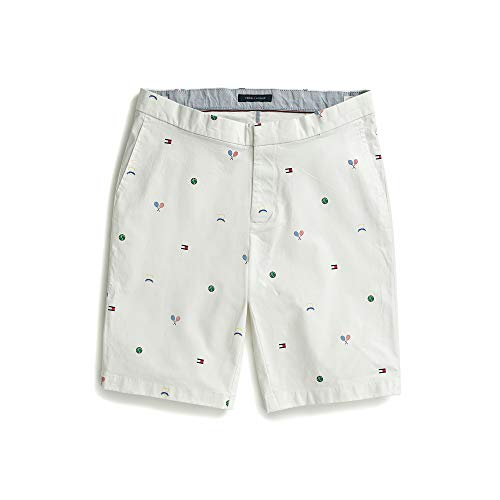 Tommy Hilfiger Men's Adaptive Seated Fit Tennis Shorts with Elastic Waist Velcro Closure, Snow White, 36