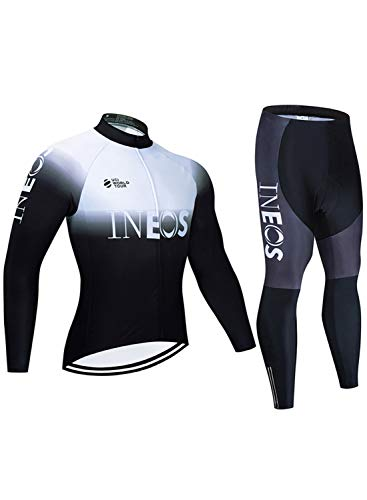 Winter Fleece Warm Bicycle Clothing Men Long Sleeve Breathable Sportswear Pro MTB Bike Racing Long Sleeve Coat+Padded Pants Trousers White B-XS