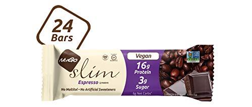 NuGo Slim Dark Chocolate Espresso, 16g Vegan Protein, 3g Sugar, 7g Fiber, 170 Calorie, Low Net Carbs, Gluten Free, 24 Count
