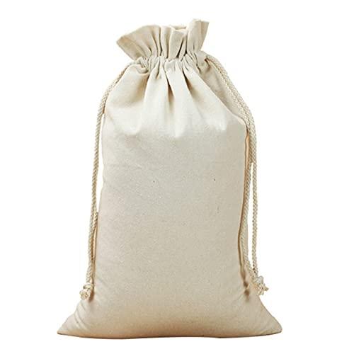 Easyeeasy Bolsa de encuadernación de lona Bolsa de tela pequeña Bolsa de lino con cordón ambiental Bolsa de almacenamiento de regalo de algodón Pintado a mano Diy