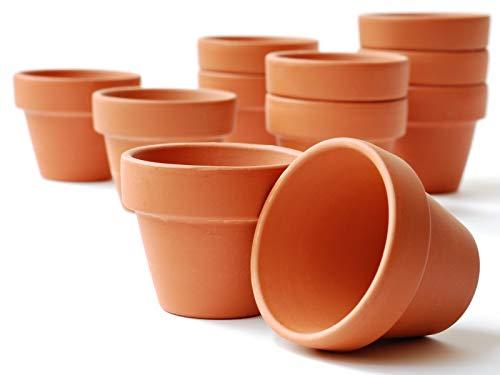 10er-Set Tontöpfe - Blumentöpfe Übertöpfe Pflanztopf - Ideal zur Anzucht - Naturprodukt - wiederwendbar - verschiedene Größen (ca. Ø 6 cm x Höhe 6 cm)