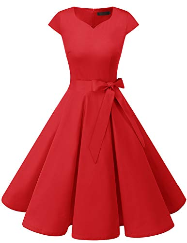Dresstells Damen Vintage 50er Cap Sleeves Rockabilly Swing Kleider Retro Hepburn Stil Cocktailkleid Red M