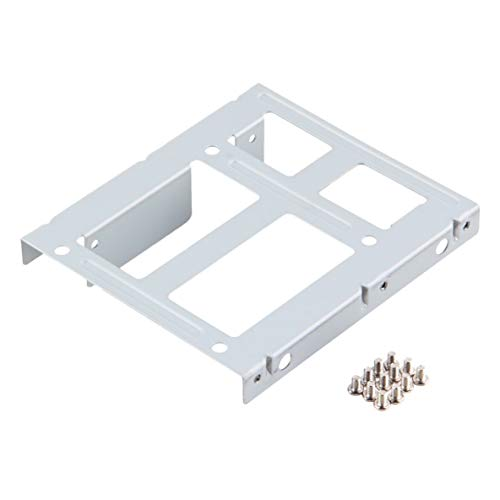 Libartly Disco Duro Ssd HDD De Aluminio De 2 Bahías De 2,5 Pulgadas A Adaptador Convertidor De Bahía De Unidad De 3,5 Pulgadas Soporte De Rack con 12 Tornillos - Plata