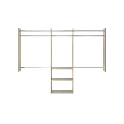 Easy Track RB1460-CGON Deluxe Starter Closet Storage Wall Mounted Wardrobe Organizer System Kit with Shelves and Rods Weathered Grey
