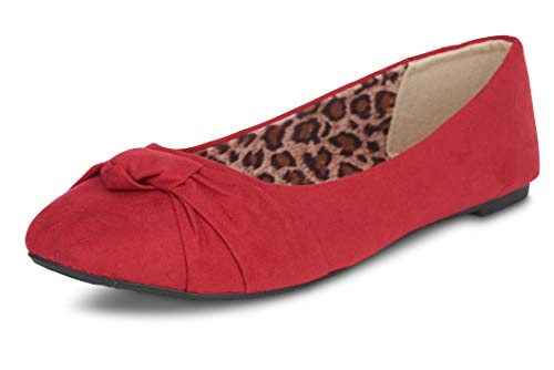 Women's Flats with Knot Front Cute Ballet Flats for Women Casual or Dressy Comfortable Flats for Women Cute Red