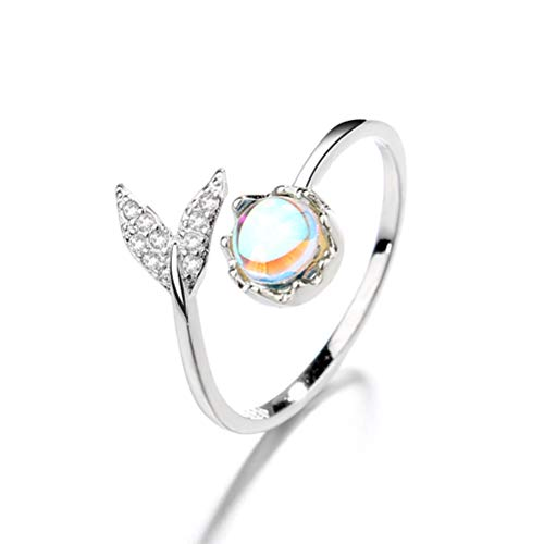 ZANLION Fish Tail Ring with Moonstone,Personality Tail Mermaid Fish Whale-Ring Band Wrap Open Rings Women Jewelry Gift (1PC)