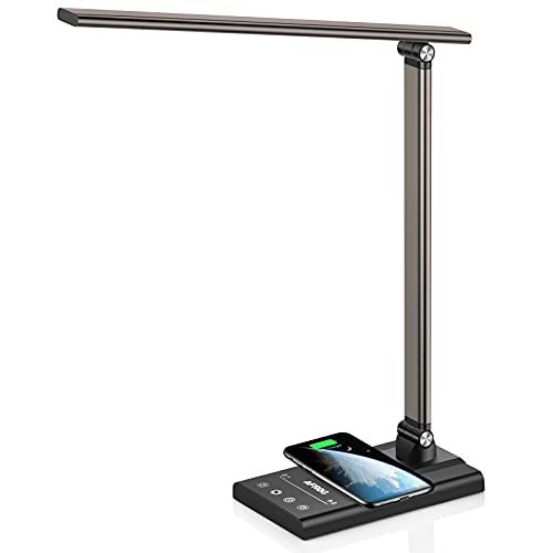 AFROG Multifunctional Led Desk Lamp (3rd Gen) with 10W Fast Wireless Charger, USB Charging Port,12W Super Bright,5 Lighting Mode,7 Brightness, Touch Control, Auto Timer, Eye-Caring Office Table Lamp