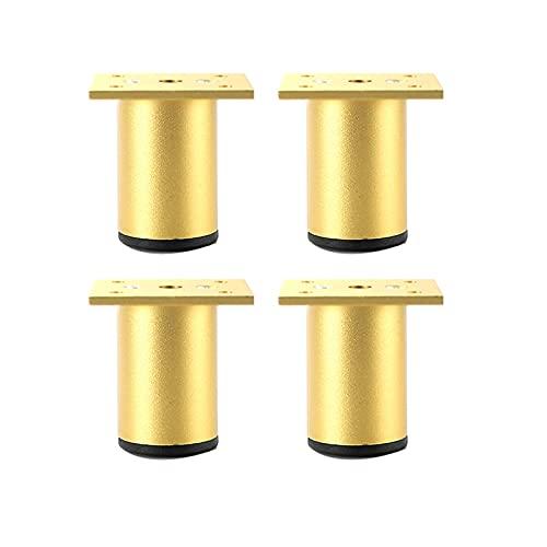 Juego de 4 patas ajustables de Patas para muebles Patas de Muebles de Pies de Gabinete Regulables Redondo Armario de Cocina Pies para Sofá Mesa Estantes(Color:gold,Size:6cm/2.3in)