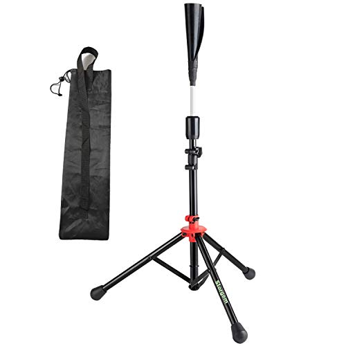 Storgem Batting Baseball tee Softball Adjustable Tripod Stand Tee for Hitting Training Practice,Carrying Bag (Red)