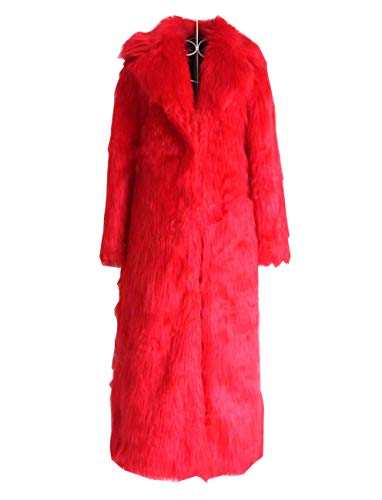 Huaishu Veste Chaude Femme Manteau Moelleux À Manches Longues Vêtements d'automne Hiver,Red,XL
