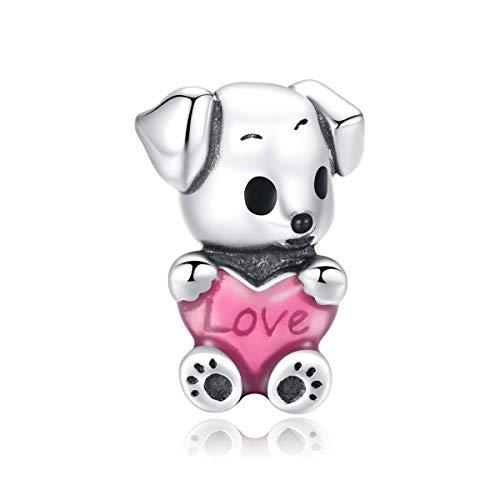 Presentski Charm Perro para Pulseras, Abalorios Perro Rosa Amor Corazón, Dog de Perrito en Plata, Abalorios de Cachorro