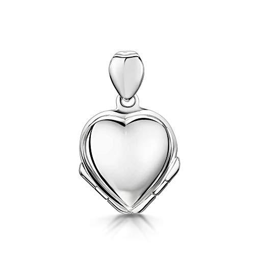 Amberta Medallón con Cuatro Costados para Mujer en Plata de Ley 925: Corazón