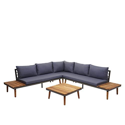 Mendler Garten-Garnitur HWC-E97, Garnitur Sitzgruppe Lounge-Set Sofa, Akazie Holz grau