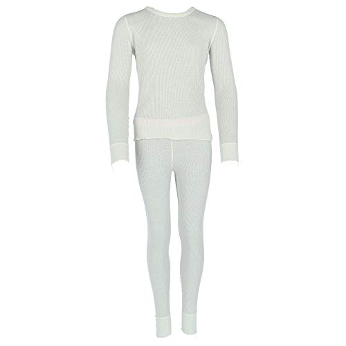 Hanes Hanes Girls Solid Waffle Knit Thermal Set (125703) -Snow White -XS