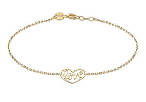 Oro giallo 9kt 12mm x 10.5mm'Love cuore braccialetto regolabile 18cm/17,8cm -19cm/7.5