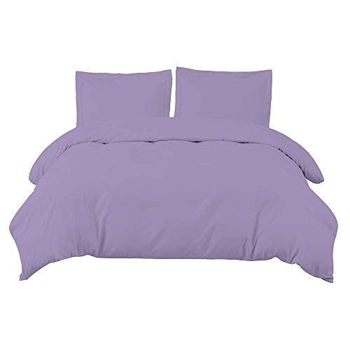 H&Q Easy Care Plain Dyed Duvet Cover with Pillow Case Bedding Set (Lilac, Double)