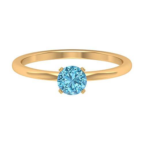 Anillo de compromiso moderno, anillo de boda, D-VSSI 1/2 CT 5 mm forma redonda aguamarina anillo, solitario anillo de piedras preciosas, regalo de aniversario para ella, 14K Oro amarillo, Size:EU 45