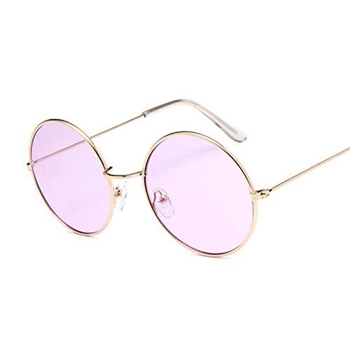 DNAMAZ Retro Redondo Negro Gafas de Sol Hombres Gafas de Sol para Mujer aleación Espejo Gafas de Sol Macho (Lenses Color : GoldPurple)