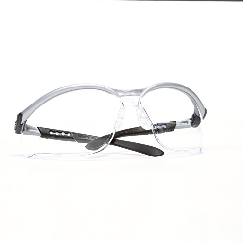 3M BX Dual Reader Protective Eyewear Pack of 1 11458-00000-20 Clear Anti-Fog Lens Silv//Blk Frame +2.0 Top//Bottom Diopter