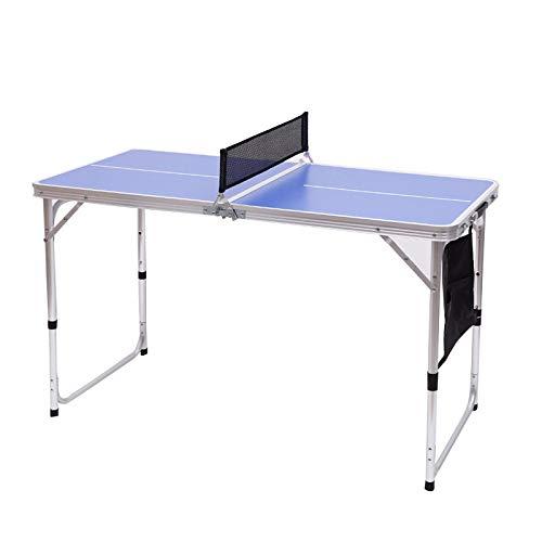POIUYT Mesas de Ping Pong de tamaño Mini Mesa de usos múltiples para Uso en Interiores y Exteriores para Altura Ajustable en 3 Niveles 120x60x55/60/70cm