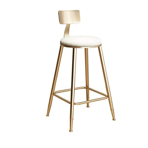 Barhocker mit Rückenlehnchen für Küche | Bar High Stools Gold Metal | Pink Velvet Cushion | Moderne Dining Room Chairs,White,45cm