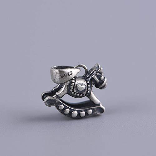 ESCYQ Vintage 925 Sterling Silber Anhänger,Vintage Kreative Mode Cartoon Trojan Anhänger Einfach Atmosphäre Ohne Kette Geburtstag Geschenk Fashion Halskette Zubehör