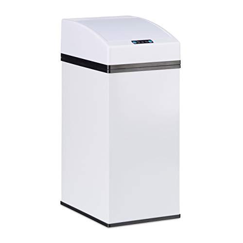 Relaxdays Poubelle capteur, couvercle automatique, seau intérieur avec poignée, hygiénique, acier, HLP 35 x 15 x 20 cm, blanc